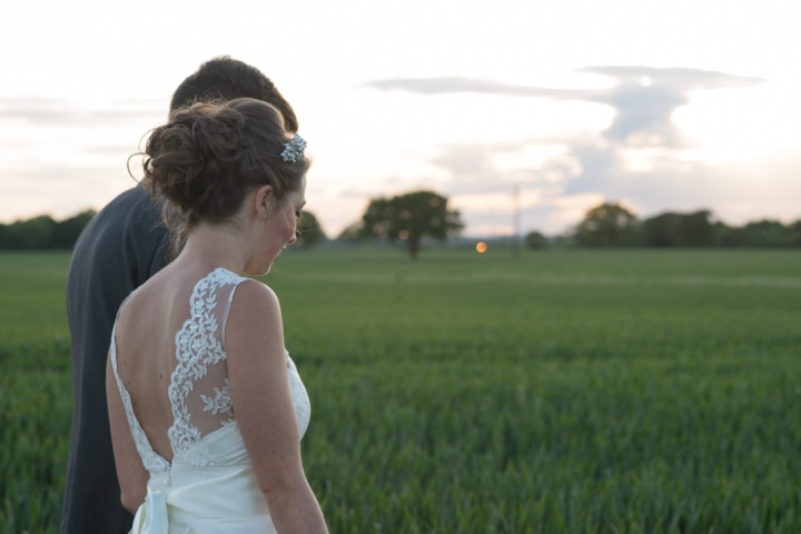 bride, groom, sunset, field, alternative, twilight hour, Essex, Friern Manor