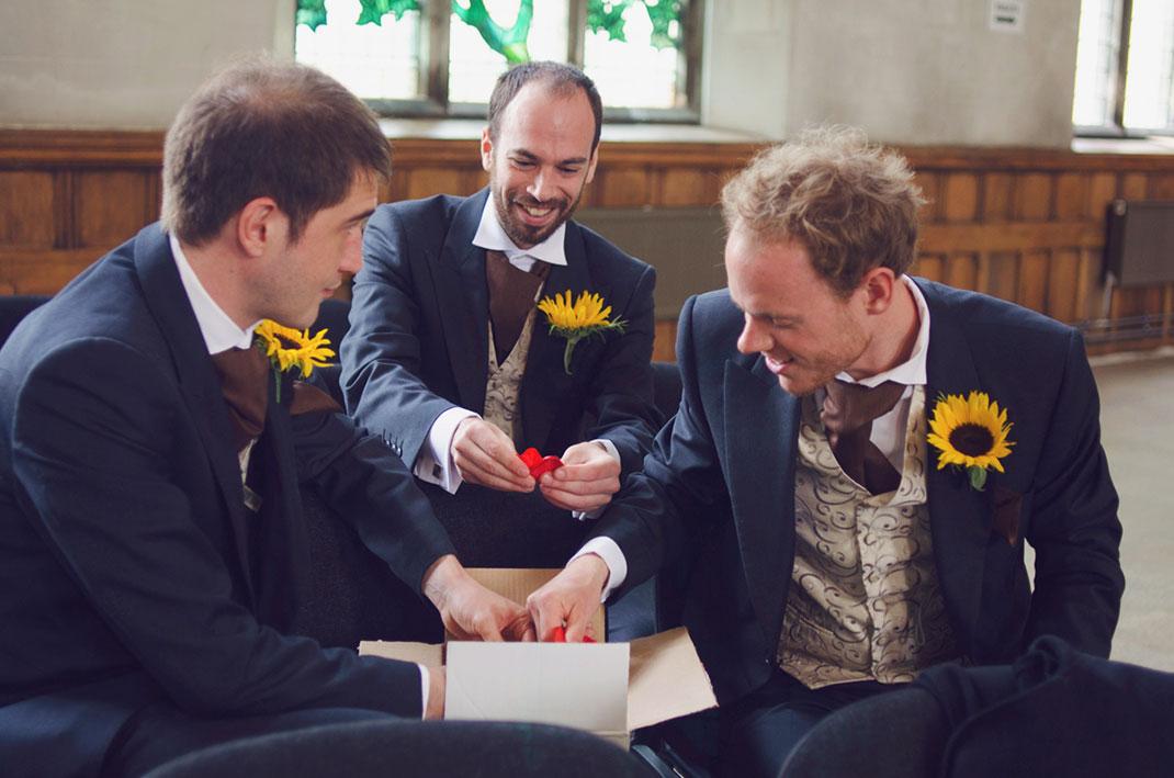 groomsmen, petals, funny, masculine, sunflowers,