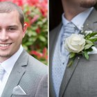 Groom, pre-wedding, nervous, buttonholes, close up, headshot, boutonnieres, blue, rose