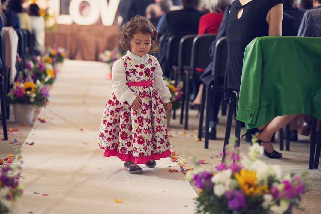 little girl, floral dress, pretty, sunflowers, confetti, petals,