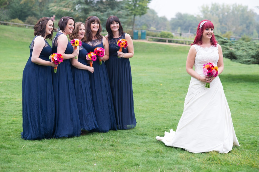 beautiful, bride, bridesmaids,