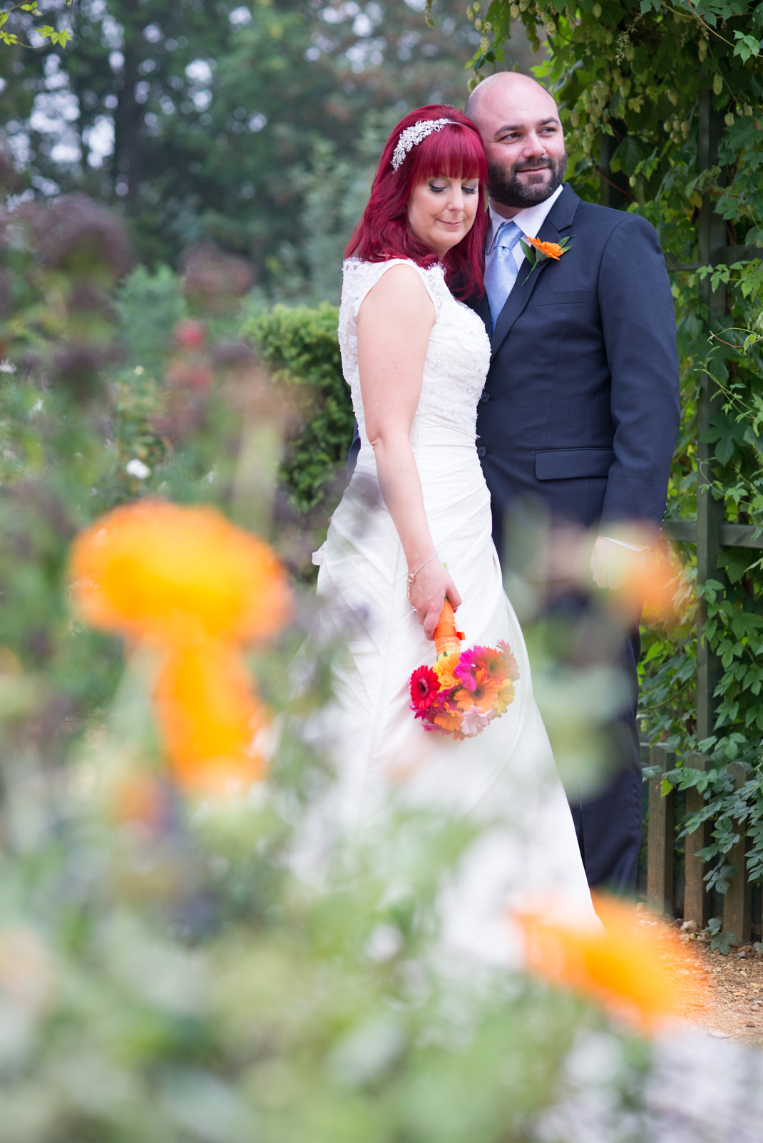 bokeh, pretty, bright florals, red hair, bride, gardens, Marwell Zoo