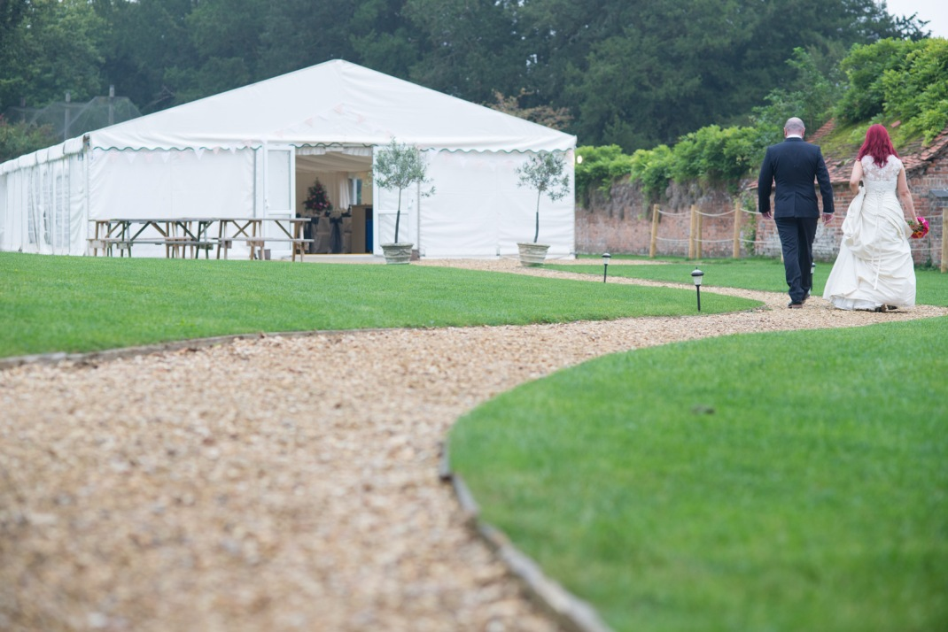 Marquee, Bride, Groom, walk, reception