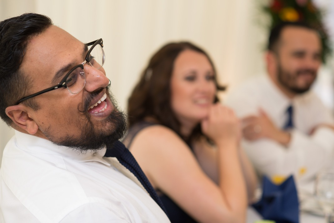 Winchester Wedding Photographer, candid, funny, laugh, wedding guest, speech