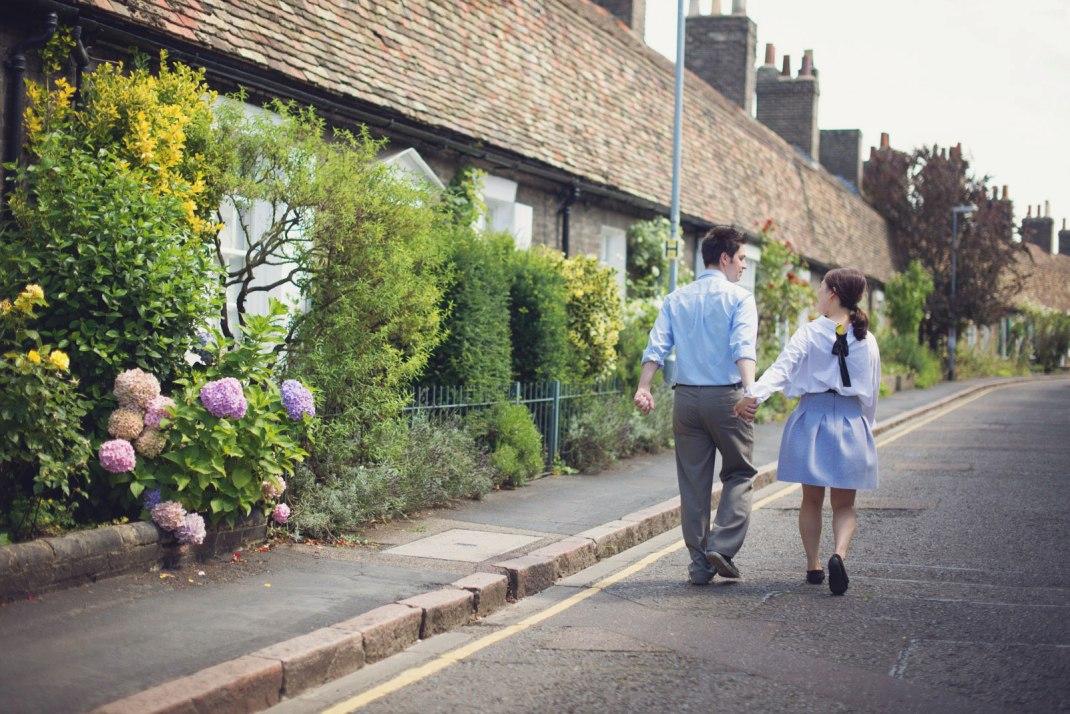 quaint, street, roses, enagement shoot