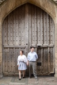 huge door, Cambridge, England, engagement,