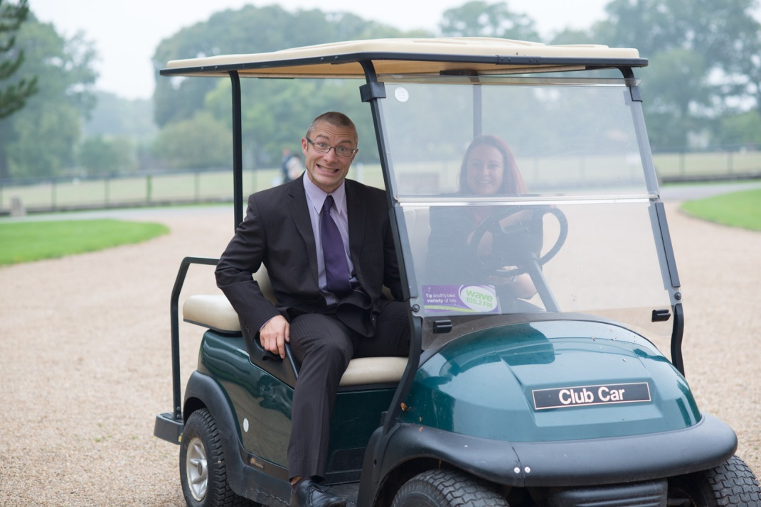 golf buggy, wedding guest, late, funny, happy, Wedding, Winchester, Marwell House, Zoo
