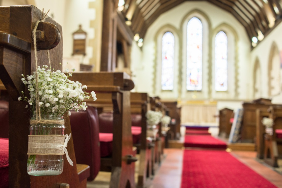 baby's breath, mason jars, lace, twine. church aisle