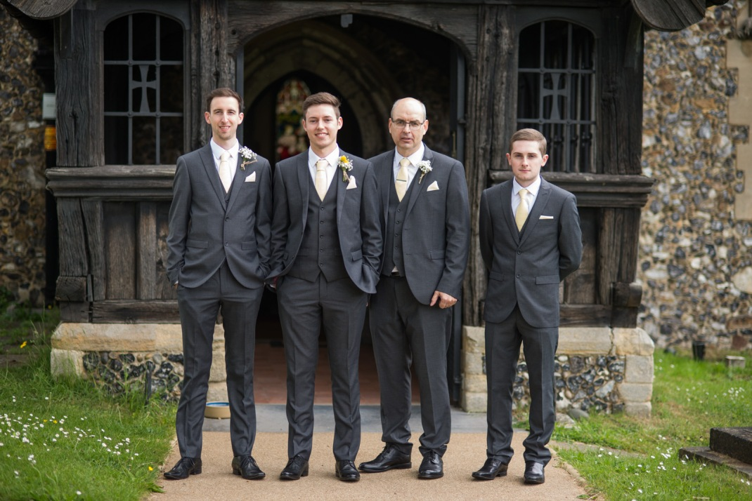 Groom, family, best man