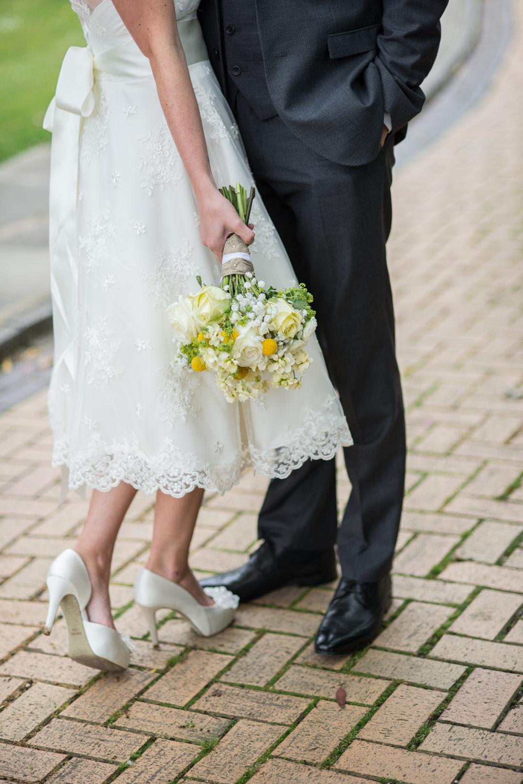 crop, bouquet, shoes, dress