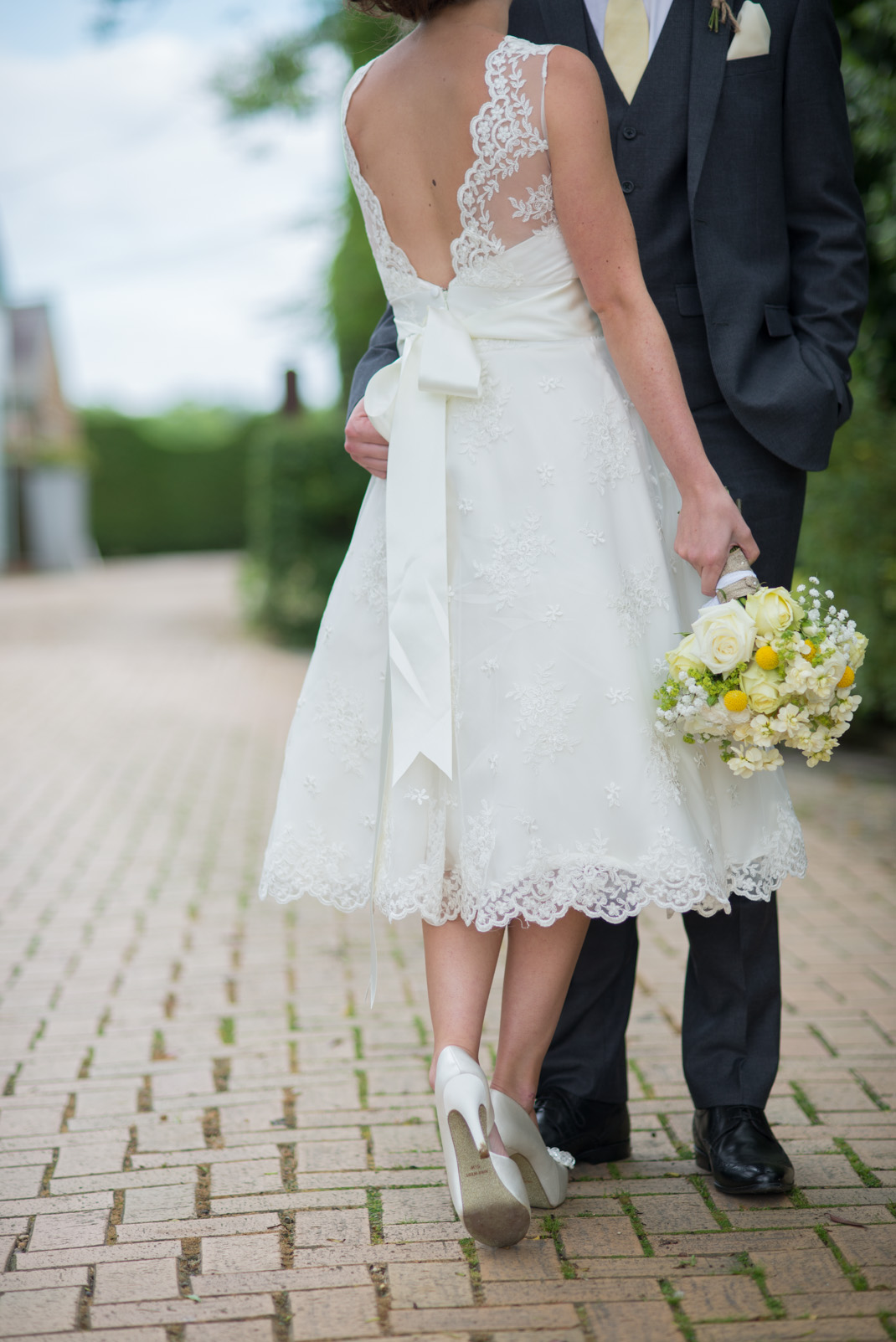 pathway, bride and groom, portrait