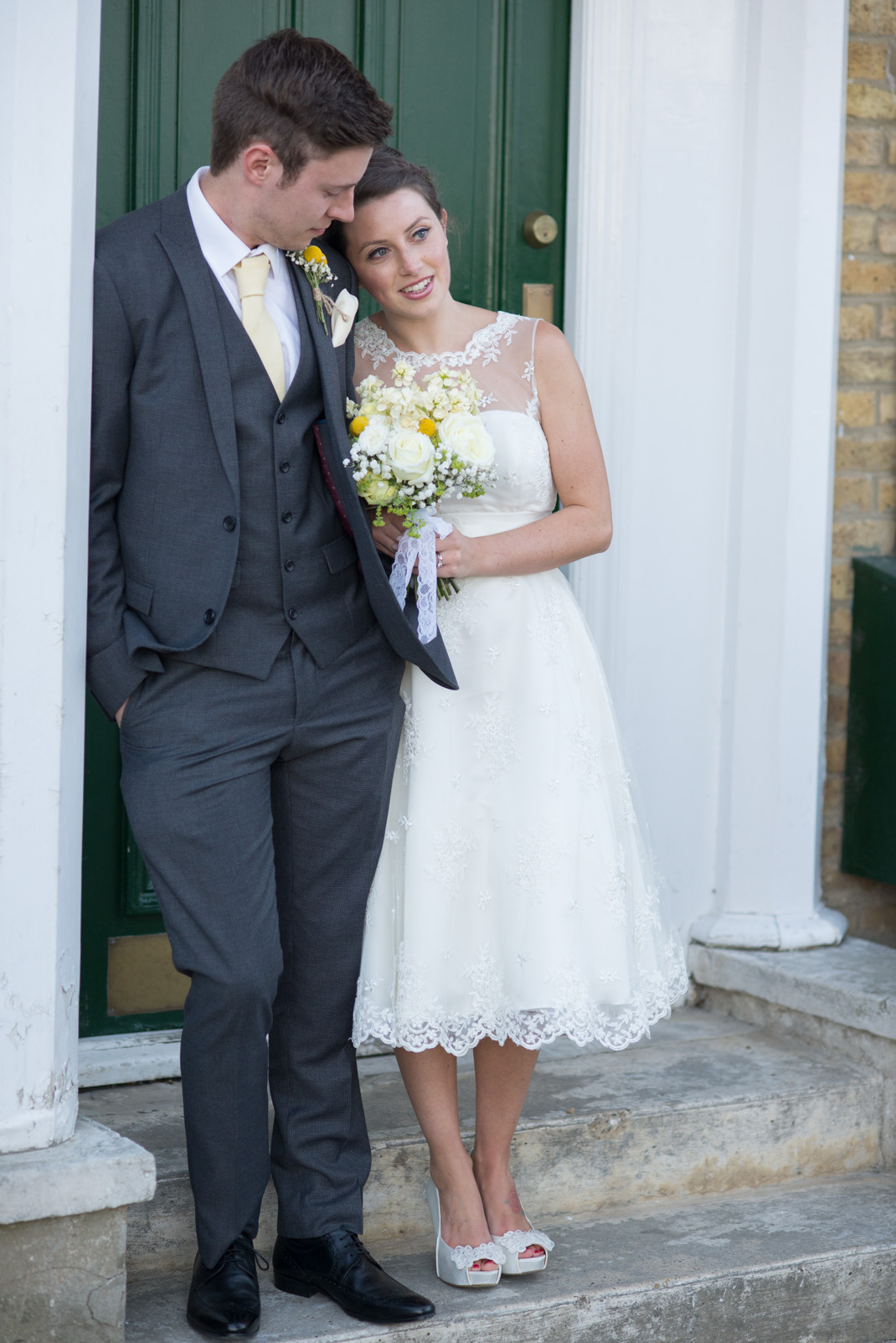 bride, groom, portrait, door,