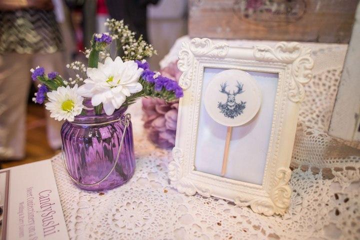 vintage picture frame, antlers, mason jar, flowers