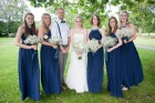 Bridal party, portrait, Bride, Bridesmaids, Man of Honour, bouquets, Baby's Breath, Art Deco, navy, elegant