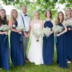 Bridal party, portrait, Bride, Bridesmaids, Man of Honour, bouquets, Baby's Breath, Art Deco, navy, elegant