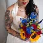 red lips, bridal bouquet, bride, bridal prep, tatoos