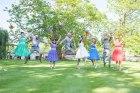bride, groom, happy, jump , love, fun, group photo