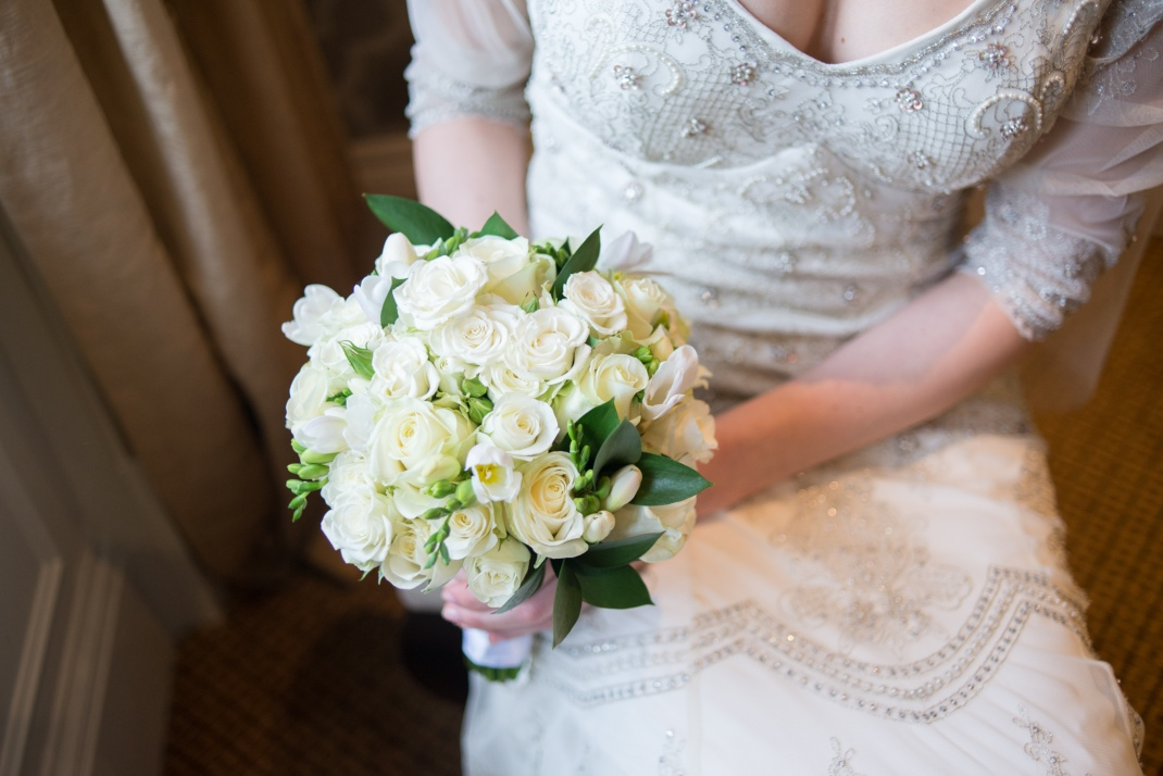 bridal bouquet, flowers, white roses