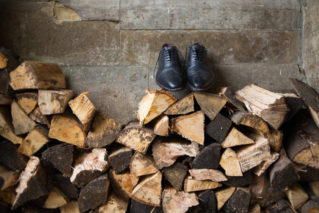 groom shoes, brogues, logs, wood